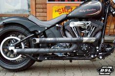 BSL Shotgun V2 Shot Pipes Auspuff Harley Softail 07-13 poliert