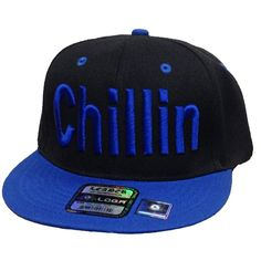 "Flat Bill Snapback Cap Hat ""CHILLIN"" 3D Hip Hop Baseball Hat... ($17) ❤ liked on Polyvore featuring accessories, hats, flat cap, flat bill cap, black snapback, two tone baseball cap and flat bill hats"