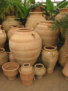 Here is our store display of Greek terracotta we have lovely large and small pots or jars perfect for the authentic look for your garden.
