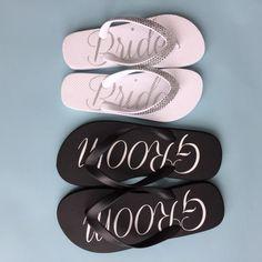 4e086e798792 Bride and groom flip flops for a beach wedding or honeymoon Wedding Flip  Flops