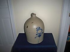 Antique 19th C Stoneware Decorated Bee Sting Tornado Red Wing 3 Gallon Jug