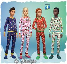 Sims 4 Updates: All 4 Sims - Clothing, Female, Male : Pajamas for kids by Chalipo, Custom Content Download!