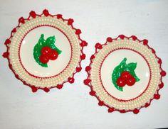 Vintage Saucer Cherry Crochet Trim Wall Hanging