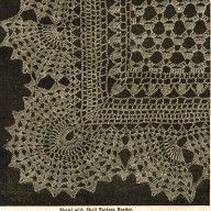 Vintage Victorian Crochet Pattern For Pretty Lace Shawl With Shell Border