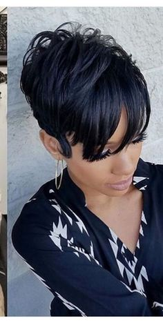 These short black hairstyles really are fabulous. Short Black Hairstyles, Short Hair Cuts, Girl Hairstyles, Short Hair Styles, Natural Hair Styles, Pixie Cuts, Black Pixie Haircut, Short Curly Weave Hairstyles, 27 Piece Hairstyles