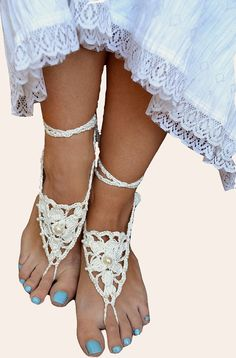 White Sexy crocheted barefoot sandals steampunk by dosiak on Etsy, $15.00