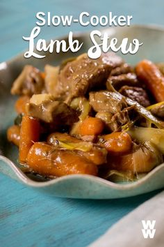 Stew's on! Watch below to see how to put together a SmartPoints-friendly slow-cooker lamb stew. This easy dinner recipe is made for busy days! Lamb Neck Recipes, Lamb Chop Recipes, Meat Recipes, Cooking Recipes, Crockpot Recipes, Crockpot Dishes, Paleo Recipes, Recipies, Lamb Chops Slow Cooker