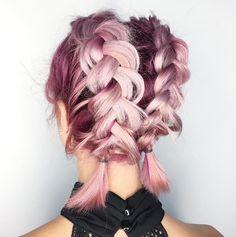 cabelo rosa degradê trança boxeadora