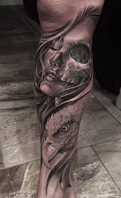 Portrait, Skull & Eagle Tattoo