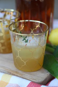 Bourbon Cocktail with Thyme Bourbon Cocktails, Candle Holders, Laundry, Pudding, Candles, Desserts, Food, Laundry Room, Tailgate Desserts