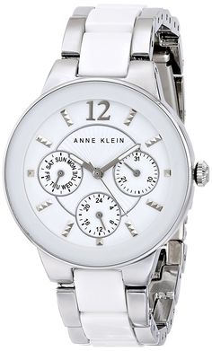 Anne Klein Women's AK/1629WTSV Multi-Function Silver-Tone and White Ceramic Bracelet Watch -- You can get more details by clicking on the image.