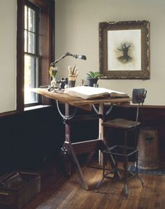 Art Studio - Vintage Drawing Table and Chair Vintage Drafting Table, Drafting Tables, Drawing Desk, Drawing Board, My New Room, Interior Inspiration, Workspace Inspiration, Living Spaces, Sweet Home