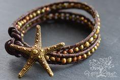 Gold Starfish Beaded Pearl Leather Wrap Bracelet. $35.00, via Etsy.