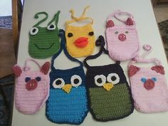Crochet baby bibs for craft show...