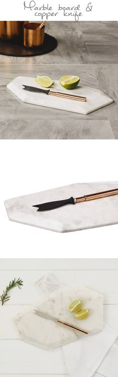 The gorgeous asymmetry of this marble board with the contrasting copper knife - very modern yet timeless. I love the minimalism. #marble #kitchendecor #homedecor #homewares