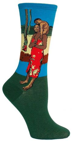 """Gauguin's """"We Hail Thee Mary"""" features Mary and Jesus as Tahitians. Gauguin, a believer in universal human values, painted many """"Christian"""" biblical scenes with Tahitian natives as the subjects while he was living in French Polynesia. Crew length socks featuring Gauguin's famous work. Fits women's shoe size 5-10."""