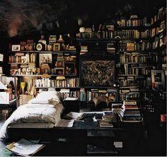 My dream library bedroom Library Bedroom, Library Books, Cozy Library, Attic Library, Bedroom Bookshelf, Bookshelf Wall, Library Ideas, Mini Library, Library Wall