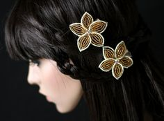 Your place to buy and sell all things handmade Star Shape, Bride Hairstyles, Beaded Flowers, Hair Pieces, Seed Beads, Hair Clips, Glow, Shapes, French