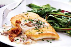 Halibut With Chanterelle Cream Sauce | Canadian Living