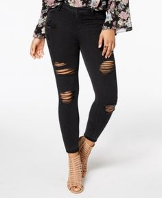 American Rag Juniors' Ripped Released-Hem Skinny Jeans, Created for Macy's - Black 15