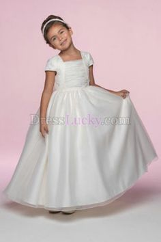 White Square Zipper Up Natural Short Sleeve Flower Girl Dresses With Sashes/Ribbons FD2678