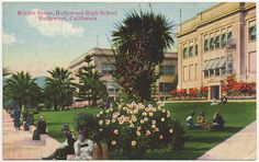 #TBT This is a post card depicting a Hollywood High School in Hollywood as a winter scene. This postcard was made in the 1920s. Courtesy of the California History Room, California State Library, Sacramento, California