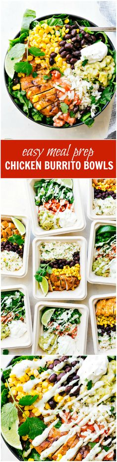 EASY MEAL PREP Chicken Burrito Bowls!! Tons of short-cuts for a better than a restaurant burrito bowl! Taco-seasoned chicken, cilantro-lime rice, salsa, guac, beans, and a creamy cilantro sauce! via chelseasmessyapron.com