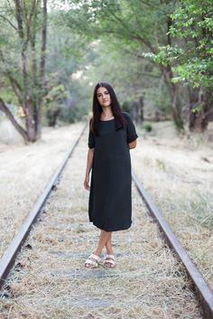 loose charcoal dress