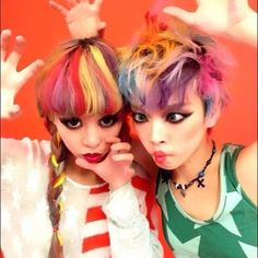 Cute girls with cute rainbow hair.