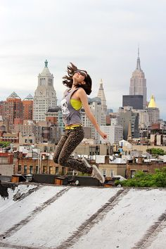 Hannah Rinehart  jumping for joy in New York City #styledbycorbin
