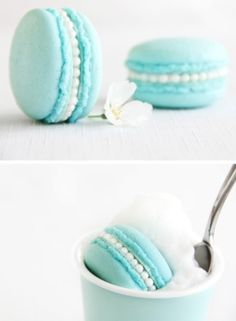 Perfect -tiffany blue macarons, love the (wedding) pearl filling