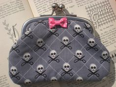 Skull and Scissors Coin Purse by AlohaLoungeDesigns