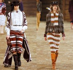 Chanel 2014 Pre Fall Womens Runway Presentation - Pre Autumn Collection Looks Dallas Texas - Old American Western Frontier Native American I...
