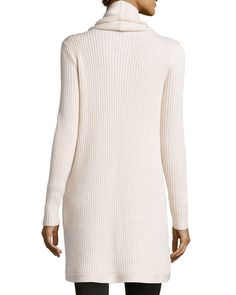 Ribbed Cowl-Neck Draped Sweater, Oatmeal