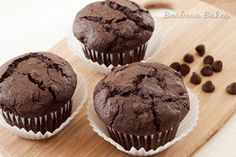 Whole Wheat Chocolate Chocolate Chip Muffins | Barbara Bakes