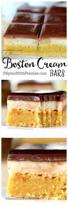 Boston Cream Bars! Amazing Brownie-like base topped with homemade custard and a rich chocolate ganache! You can't eat just one!