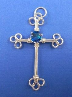 Wire Cross Pendant with Cubic Zirconia Snap Set- Pattern for making wire jewelry.  Make this wire pendant using brass wire, copper wire, silver or gold filled wire.