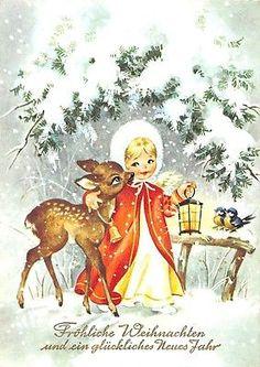 AK Merry Christmas Angel with Deer Lantern Fur Hat Winter Postcard Christmas Scenes, Christmas Deer, Christmas Past, Retro Christmas, Christmas Angels, Winter Christmas, Christmas Card Crafts, Christmas Greeting Cards, Christmas Greetings