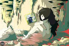 Adventure Time - Marceline She's sad. Cartoon Network, Adventure Time Marceline, Adventure Time Anime, Cartoon Tv, Cartoon Shows, Marceline And Princess Bubblegum, Pixar, Finn The Human, Vampire Queen