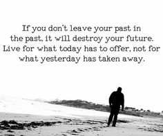 A wise one must keep this in mind... the demons of the past will be defeated with the beauty of the present and future. The past shaped the present, but the future is shaped by the present.