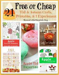 21 {Free or Cheap} Fall & Autumn Homeschool Crafts, Printables and 1 Experiment for Preschool & Early Elementary | Mamas Coffee Shop Blog