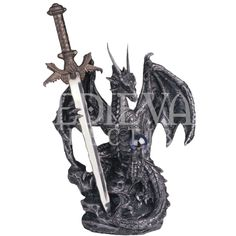 Silver Dragon with Sword Statue - 05-71329 by Medieval Collectibles