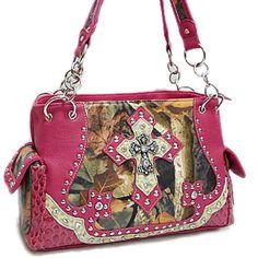 Western Cross and Camo Pink Handbag