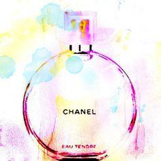 Chanel Kunst Chanel Parfüm-Aquarell-Print Chanel von trolleyla