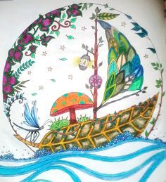 barco - Johanna Basford - enchanted forest - floresta encantada - jardim secreto - secret garden - colouring book