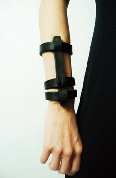 ANU TERA, IRON CAGE BRACELET: vegetable tanned leather cuffs with wrought iron piece by metal artist tarvo porroson. So Fifty Shades of Grey-ish. Leather Cuffs, Leather Jewelry, Black Leather, Jewelry Shop, Jewelry Accessories, Fine Jewelry, Fashion Necklace, Fashion Jewelry, Fashion Bracelets