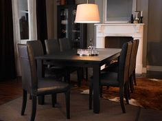 STORNÄS brown-black extendable table seats 6-8 with HENRIKSDAL brown-black leather chairs