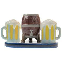Westland Giftware Mwah Beer Keg and Mugs Magnetic Ceramic Salt and Pepper Shaker with Toothpick Holder Set, 3.25-Inch