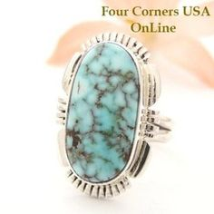 Dry Creek Turquoise Ring Size 7 1/4 Thomas Francisco Four Corners USA OnLine Native American Indian Silver Jewelry NAR-1449