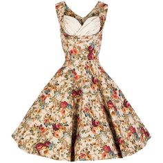 Lindy Bop 'Ophelia' Vintage 1950's Floral Spring Garden Party Picnic... ($62) ❤ liked on Polyvore featuring dresses, vintage, vintage dresses, flower pattern dress, floral printed dress, floral print dress and garden party dress